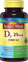 витамины Nature Made D3 25mcg (1000 IU)