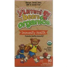 Мультивитамины Hero Nutritional Products Yummi Bears Organics, иммунное здоровье, жевательные мармеладки