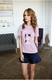 Футболка розовая девочка с орхидеей