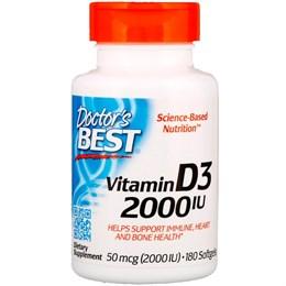 Doctor's Best, Витамин D3, 2,000 МЕ, 180 мягких табл