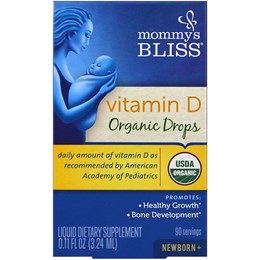 Mommy's Bliss, Витамин D, органические капли, для новорожденных с 0 месяцев (3,24 мл)