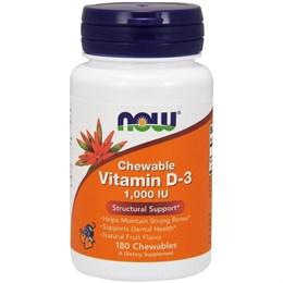 Now Foods, Жевательный витамин D-3, натуральный фруктовый вкус, 1000 МЕ, 180 жевательных таблеток