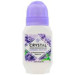 Crystal Body Deodorant, натуральный роликовый дезодорант, лаванда и белый чай
