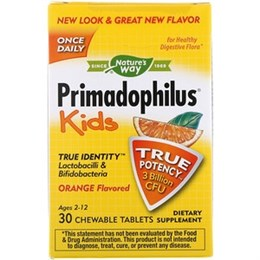 Nature's Way, Primadophilus, для детей, апельсин, 3 млрд КОЕ, 30 жевательных таблеток