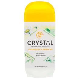 Crystal Body Deodorant, Невидимый твердый дезодорант, ромашка и зеленый чай, 70 г