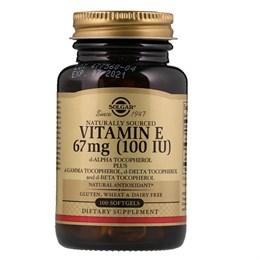 Solgar, Натуральный витамин Е, 67 мг (100 МЕ), 100 гелевых капсул