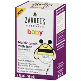 Zarbee's, Нэчуралс, мультивитамин для малышей с железом, натуральный виноградный вкус, 2 жидк. унц. (59 мл)