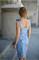 Сарафан голубой джинс вышивка цветы - фото 14215
