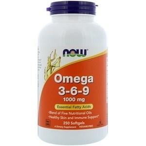 Now Foods, Омега 3-6-9, 1000 мг, 250 мягких таблеток - фото 14855