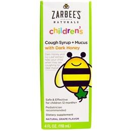 Zarbee's, Naturals, детский сироп от кашля + от слизи, натуральный виноградный ароматизатор (118 мл)