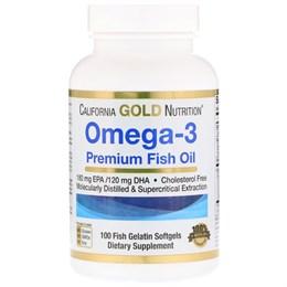 California Gold Nutrition, Омега-3, 100 желатиновых капсул с рыбьим жиром