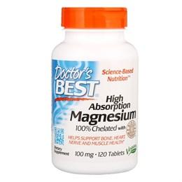 Doctor's Best, Магний с высоким коэффициентом поглощения, 100% хелатированный минералами Albion, 120 таблеток