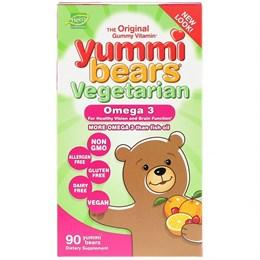 Hero Nutritional Products, Yummi Bears, растительные омега-3, натуральные фруктовые вкусы, 90 шт.