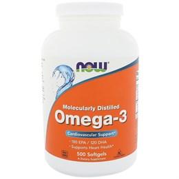 Now Foods, Омега-3, очищенная на молекулярном уровне 180 ЭПК/120 ДГК, 500 мягких таблеток