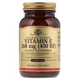 Solgar, Натуральный витамин Е, 400 МЕ, 100 мягких таблеток