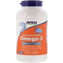 Now Foods, Молекулярно-дистиллированная омега-3, 200 рыбных гелевых капсул