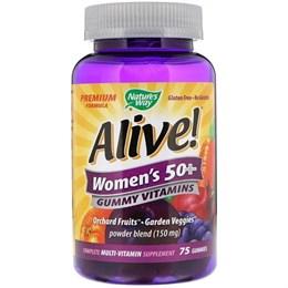 Nature's Way, Alive! Жевательные витамины для женщин старше 50 лет, фруктовые вкусы, 75 жевательных конфет