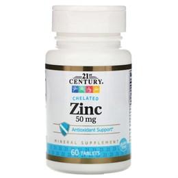 21st Century, Хелат цинка, 50 mg, 60 Tablets