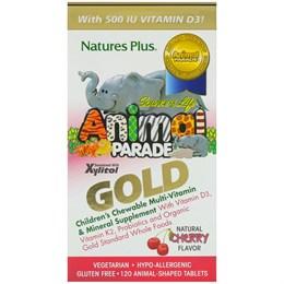 Nature's Plus, Source of Life, Gold Parade Gold, жевательные мультивитамины и минеральные добавки для детей, с натуральным вишневым вкусом, 120 таблеток в форме животных