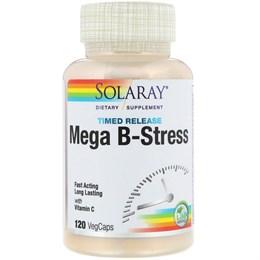 Solaray, Mega B-Stress, 120 капсул пролонгированного действия с оболочкой из ингредиентов растительного происхождения