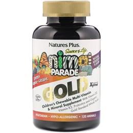 Nature's Plus, Source of Life Animal Parade Gold, добавка для детей с мультивитаминами и минералами, ассорти из натуральных вкусов, 120 таблеток в форме животных