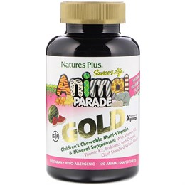 Nature's Plus, Source of Life, Animal Parade Gold, жевательная добавка для детей с мультивитаминами и минералами, натуральный ароматизатор со вкусом арбуза, 120 таблеток в форме животных