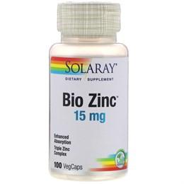 Solaray, Bio Zinc, 15 мг, 100 растительных капсул