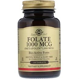 Solgar, Фолиевая кислота в виде метафолина, 1000 мкг, 120 таблеток