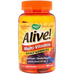 Nature's Way, Alive! Мультивитамины, жевательные конфеты для взрослых со вкусом фруктов, 90 жевательных конфет