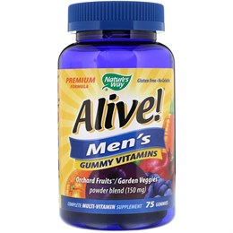 Nature's Way, Alive! Жевательный витамины для мужчин, с фруктовыми вкусами, 75 жевательных конфет