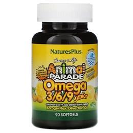 Nature's Plus, Source of Life, Animal Parade, омега 3/6/9 юниор, натуральный лимонный вкус, 90 мягких таблеток