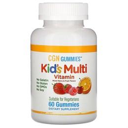 California Gold Nutrition, Поливитамины для детей в жевательных таблетках, без желатина, с ягодным и фруктовым вкусами, 60 жевательных таблеток