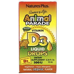 Nature's Plus, Source of Life, «Парад животных», витамин D3, жидкие капли, натуральный апельсиновый вкус, 200 МЕ, 0,34 жидк. унций (10 мл)