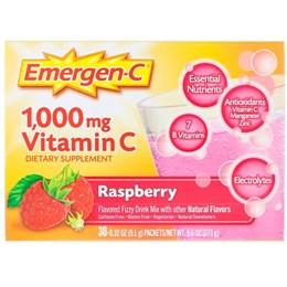 Emergen-C,Raspberry, витамин С, 1000 мг, малина, 30 пакетиков, 9,1 г (0,32 унции) каждый