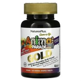 Nature's Plus, Source of Life, Animal Parade Gold, жевательные мультивитамины с микроэлементами для детей, в ассортименте, 60 таблеток в форме животных