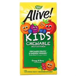 Nature's Way, Alive! Детский жевательный мультивитамин, вкус апельсина и ягод, 120 жевательных таблеток